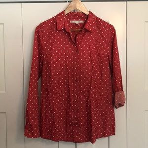 Lauren Conrad polka dot button up shirt
